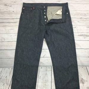 LEVIS 501 Button Fly Dark Indigo Gray Raw Jeans 40